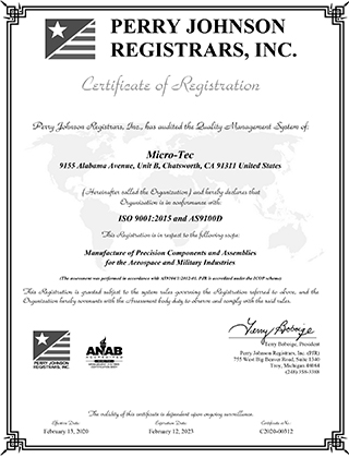 iso 9001 as9100 certificate